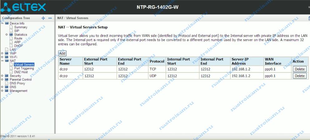 Eltex NTP-RG-1402G-W проброс порта