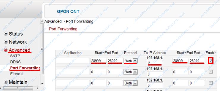 проброс портов GPON ONT O-4F2P