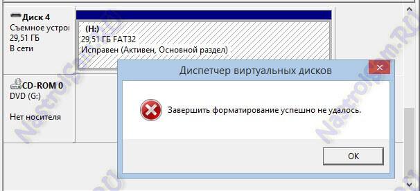 флешка не может завершить форматирование