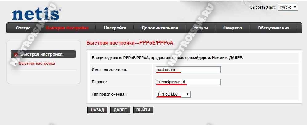 подключение интернет pppoe pppoa