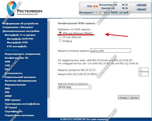 конфигурация wan сервиса ppp over ethernet
