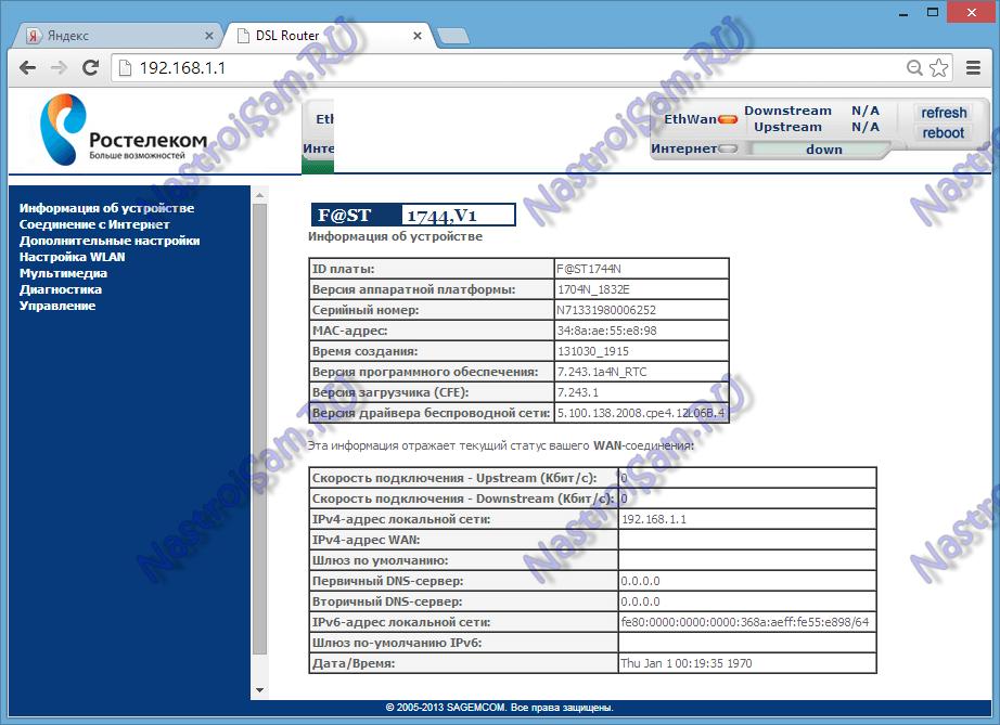 Настройка 3G на Sagemcom 2804